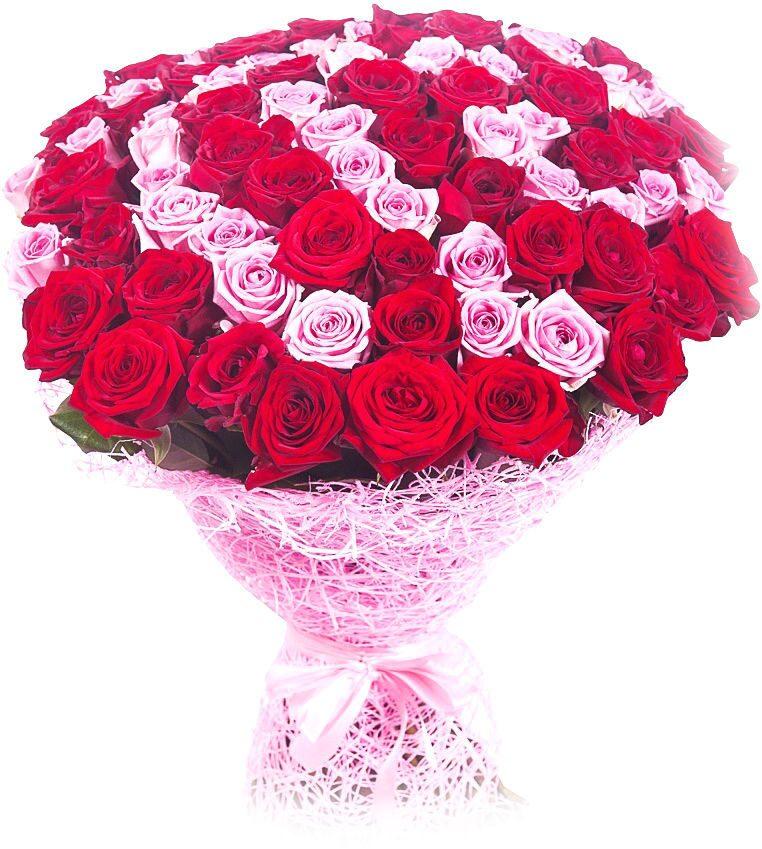 Букет из красно розовые цветов, водном